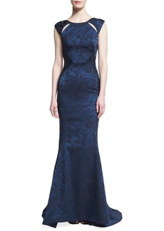Zac Posen Floral Jacquard Cutout-Shoulder Gown