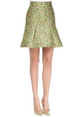 Zac Posen Floral-Jacquard Fit-and-Flare Skirt