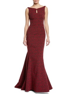 Zac Posen Floral Party Jacquard Sleeveless Mermaid Gown