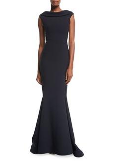 Zac Posen High-Neck Cap-Sleeve Evening Gown