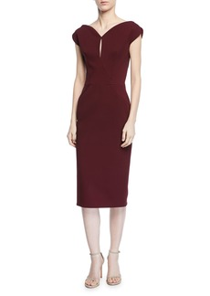Zac Posen Keyhole Cap-Sleeve Sheath Cocktail Dress