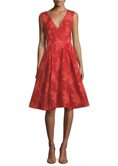 Zac Posen Leaf-Lace V-Neck Sleeveless Fit-and-Flare Cocktail Dress