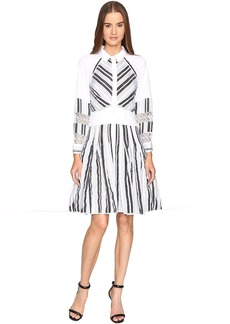 Zac Posen Long Sleeve Stripe Cotton Organdy Dress