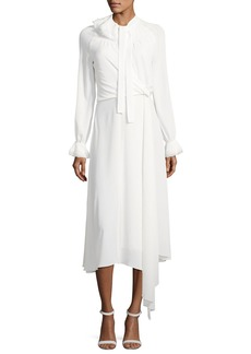 Zac Posen Long-Sleeve Tie-Neck Midi Dress
