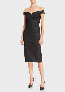 Zac Posen Metallic Crepe Off-the-Shoulder Sheath Dress