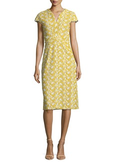 Zac Posen Mimosa Lace-Guipure Cap-Sleeve Sheath Cocktail Dress