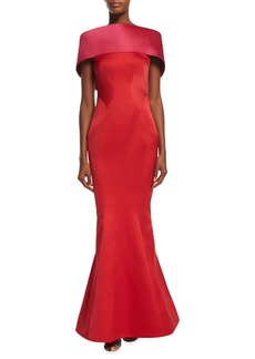 Zac Posen Off-The-Shoulder Colorblock Gown