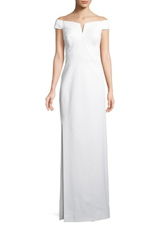 Zac Posen Off-the-Shoulder Column Bonded Jersey Evening Gown