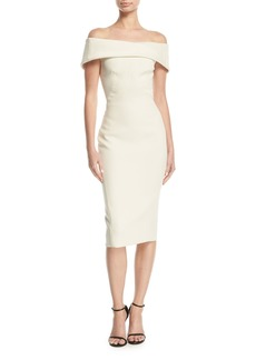 Zac Posen Off-the-Shoulder Drape-Back Sheath Cocktail Dress