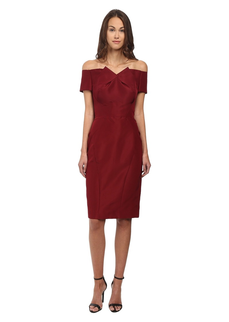Zac Posen Off The Shoulder Dress with Front Pleat