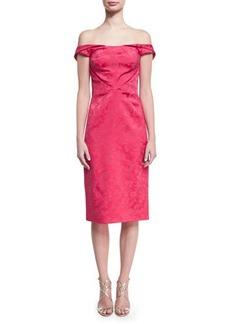 Zac Posen Off-the-Shoulder Floral Jacquard Cocktail Dress