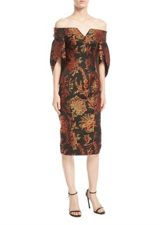 Zac Posen Off-the-Shoulder Floral-Jacquard Sheath Cocktail Dress