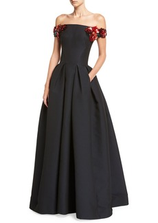 Zac Posen Off-the-Shoulder Gown with Floral Embellishments