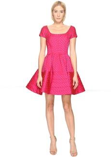 Zac Posen Party Jacquard Cap Sleeve Dress