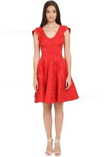 Zac Posen Party Jacquard Cap Sleeve Fit and Flare Dress