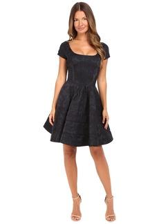 Zac Posen Party Jacquard Cap Sleeve Scoop Neck Dress