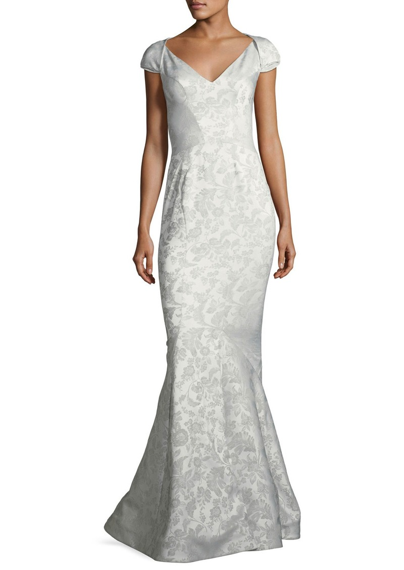 Zac Posen Party Jacquard Sweetheart-Neck Cap-Sleeve Evening Gown ...