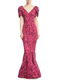 Zac Posen Party-Jacquard V-Neck Trumpet Evening Gown