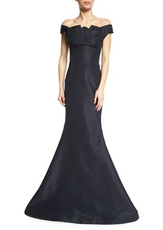 Zac Posen Pleated Off-The-Shoulder Evening Gown