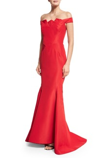 Zac Posen Pleated Off-the-Shoulder Mermaid Gown