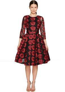 Zac Posen Poppy Embroidery 3/4 Sleeve Dress