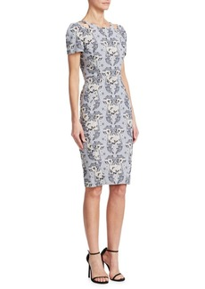 Zac Posen Printed Stretch Jacquard Dress