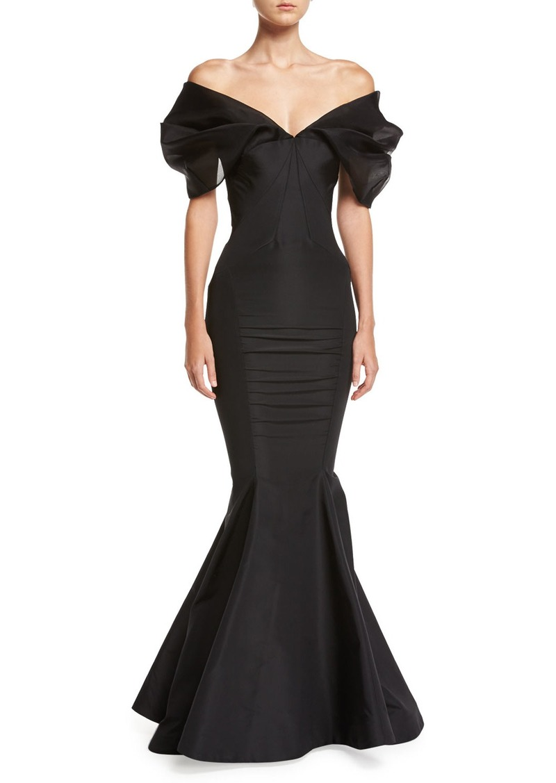 edc1eb1087a6 Zac Posen Puff-Sleeve Silk Mermaid Gown | Dresses