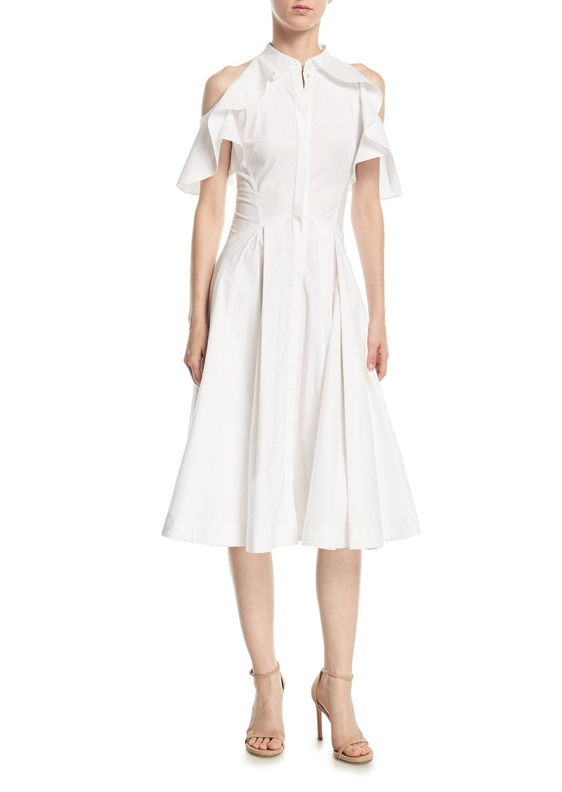 1001aeb2ee5 Zac Posen Ruffled-Frill Cold-Shoulder Poplin Shirtdress
