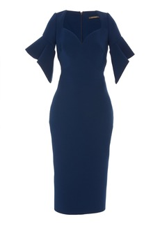 Zac Posen Ruffled Sleeve Cady Midi Dress
