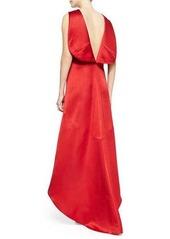 Zac Posen Satin High-Low V-Back Dress