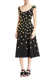 Zac Posen Scoop-Neck Sleeveless Bonded Crepe Tea-Length Cocktail Dress