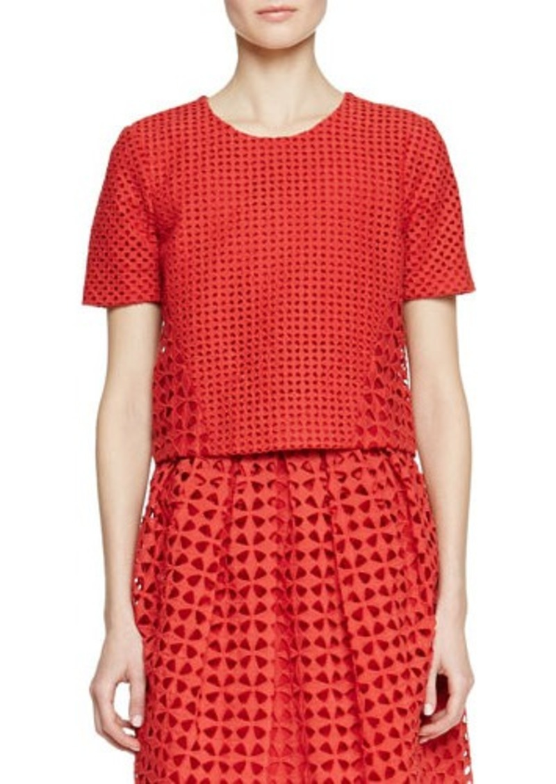 Zac Posen Short-Sleeve Cutwork Embroidered Shirt