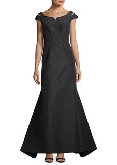 Zac Posen Silk Faille Cap-Sleeve Evening Gown