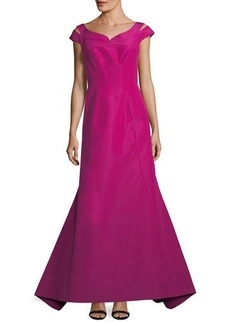 Zac Posen Silk Faille Cap-Sleeve Evening Gown