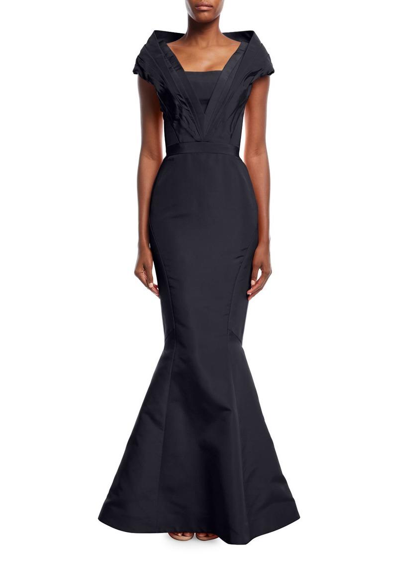 Zac Posen Silk Faille Portrait Collar Mermaid Evening Gown   Dresses