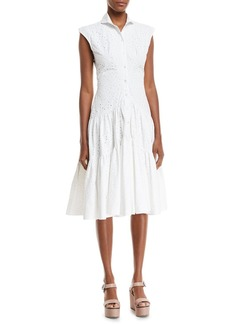 Zac Posen Sleeveless Button-Front Fit-and-Flair Eyelet Shirtdress