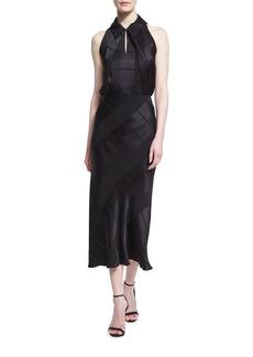 Zac Posen Sleeveless Crepe Jacquard Midi Dress
