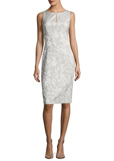 Zac Posen Sleeveless Party-Jacquard Sheath Cocktail Dress