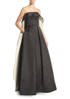 Zac Posen Strapless Cape-Back Evening Gown