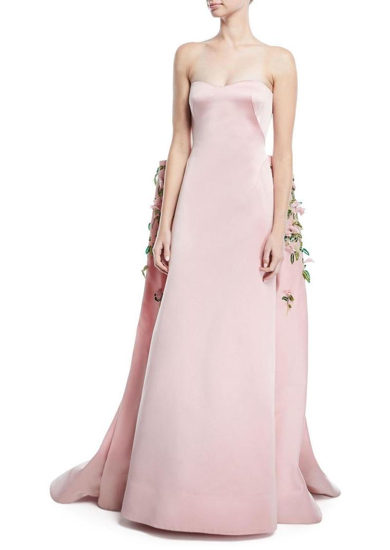 Zac Posen Strapless Duchess Satin Evening Gown with Floral-Vine ...