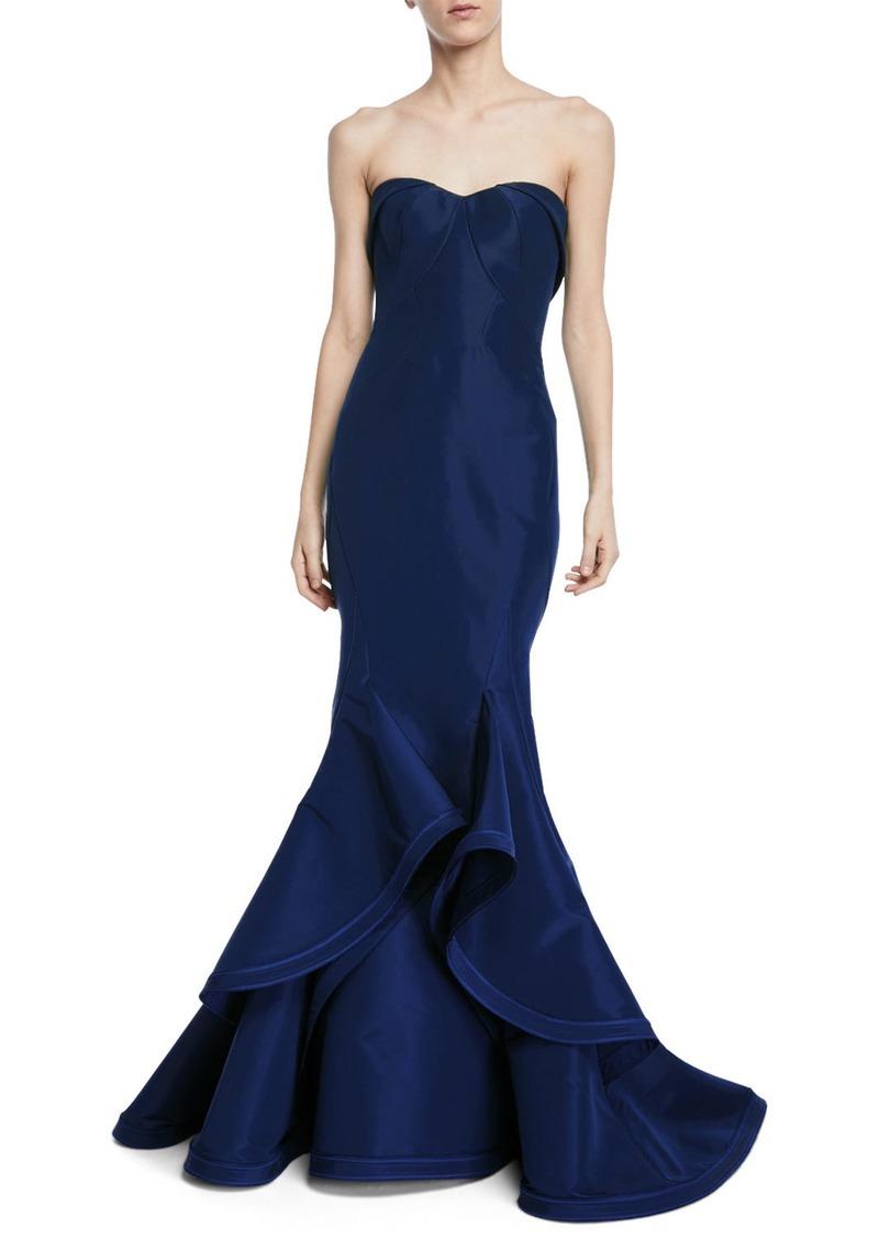 Zac Posen Strapless Silk Faille Ruffle-Hem Evening Gown | Dresses