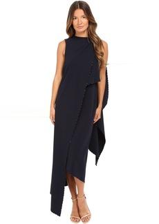 Zac Posen Stretch Cady Asymmetrical Sleeveless Dress