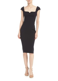 Zac Posen Sweetheart Cap-Sleeve Crepe Sheath Cocktail Dress