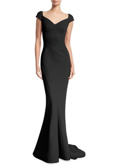 Zac Posen Sweetheart-Neck Bonded Jersey Evening Gown