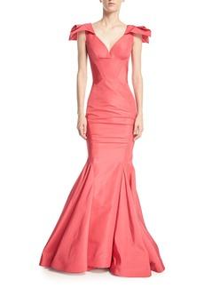 Zac Posen Sweetheart Sleeveless Mermaid Silk-Faille Evening Gown
