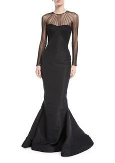 Zac Posen Tulle Illusion Long-Sleeve Silk Faille Trumpet Evening Gown