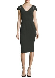 Zac Posen V-Neck Cap-Sleeve Bonded Crepe Sheath Cocktail Dress