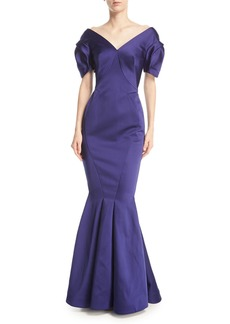 Zac Posen V-Neck Double-Face Duchess Satin Evening Gown