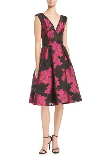 Zac Posen V-Neck Sleeveless Floral-Embroidered Fit-and-Flare Cocktail Dress
