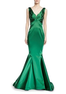 Zac Posen V-Neck Stretch Satin Trumpet Gown